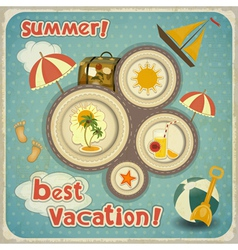 Summer Vacation Card in Vintage Style vector image