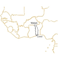 Togo hand-drawn sketch map vector