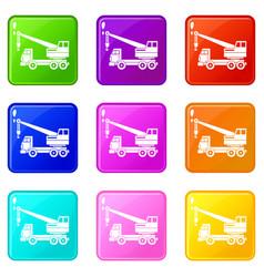 Truck crane set 9 vector