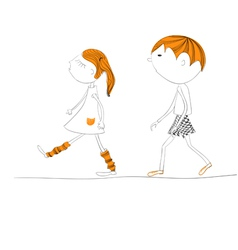 Two kids going to school vector
