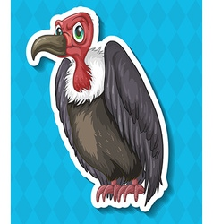 Vulture looking angry on blue background vector