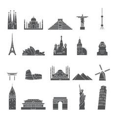world famous city landmark silhouettes vector image