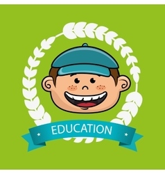 Boy student graduation icon vector