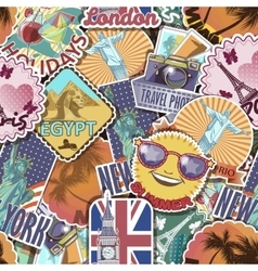 Travel Stickers Pattern vector image