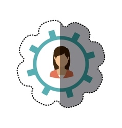 Isolated gear and businesswoman design vector