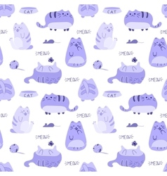 Cute funny seamless pattern with cats and vector image