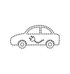 Electric car sign black dashed icon on vector