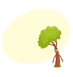 Funny comic tree character feeling sad upset vector