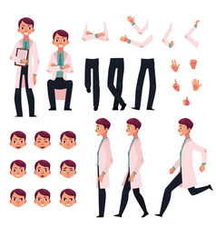 Doctor character creation set with different poses vector