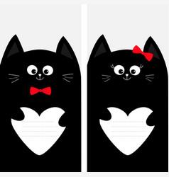 Black cat kitty family holding empty heart shape vector