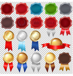 Collection wax seal and award ribbons vector
