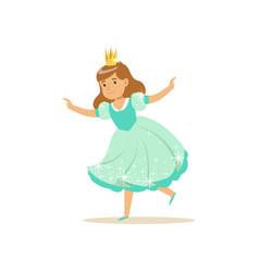 Beautifull little girl princess in a light blue vector
