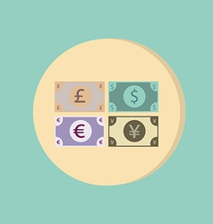 Money bill symbol icon dollar pound sterling vector