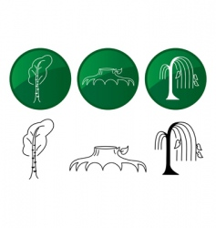 trees vector icons set vector image