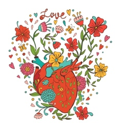 Human heart with beautiful flowers growing out of vector