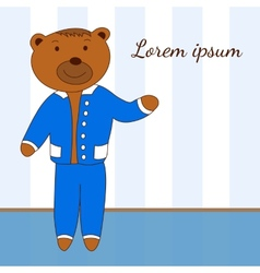 Template with the character of bear in a blue suit vector
