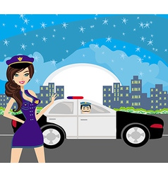 Police patrol at night vector