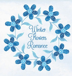 Winter flowers watercolor vignette vector