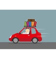 Happy businessman traveling by car vector