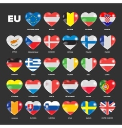European union flags in hearts vector