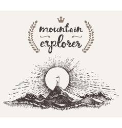 Drawn man top mountain winner concept explorer vector image