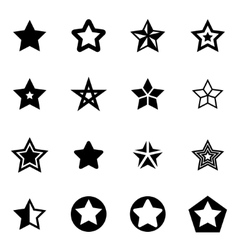 Black stars icon set vector