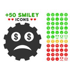 Bankrupt smiley gear icon with bonus mood set vector