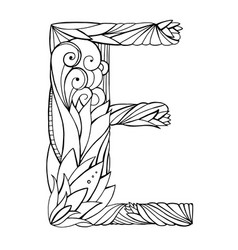 black and white freehand drawing capital letter e vector image vector image