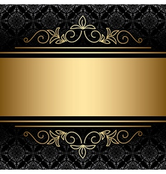 black background with golden decorations vector image vector image