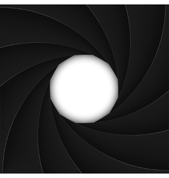 Black shutter aperture with white opening vector