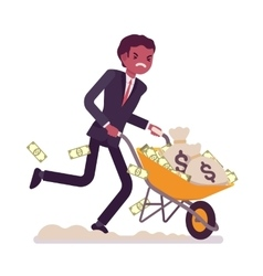 Businessman pushing a wheelbarrow full of money vector image vector image