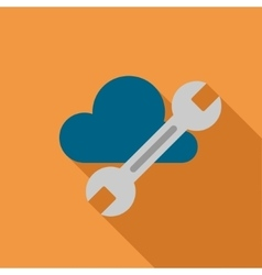 Cloud tools flat long shadow square icon vector