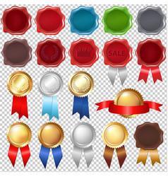 Collection wax seal and award ribbons vector