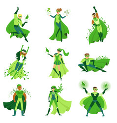 eco superhero characters set young men and women vector image