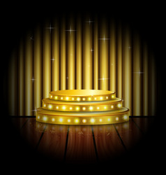 empty stage with golden spotlight background vector image