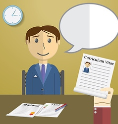 Flat design concept for job interview Hand Holding vector image