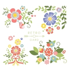 Floral vintage elements for cards and decor vector