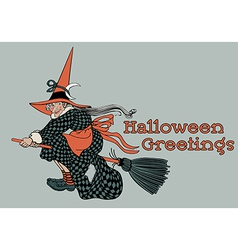 Flying Witch Halloween Greetings vector image