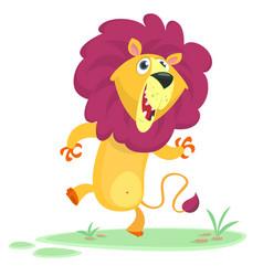 funny cartoon lion dancing vector image vector image