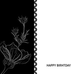 Hand-drawn white flower on black background Floral vector image
