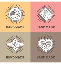 Handmade emblems with hands vector image vector image