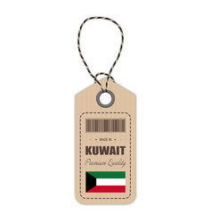 hang tag made in kuwait with flag icon isolated on vector image vector image