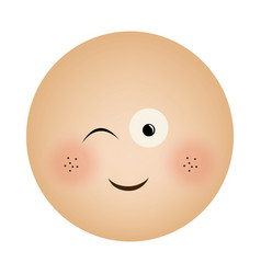 Human face emoticon winking expression vector