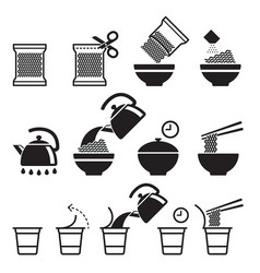 Instant noodles icons set vector