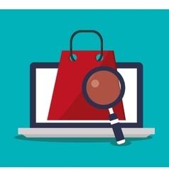 Laptop bag and digital marketing design vector