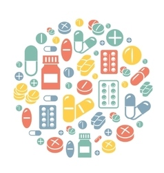 Medical pills icons circle background card vector