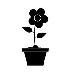 Pot flower garden pictogram vector
