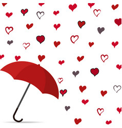 Rain of heart with umbrella vector