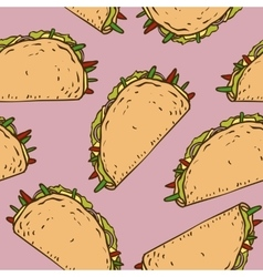 Seamless Pattern with Mexican Taco in Wheat vector image vector image