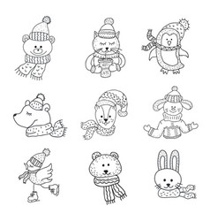 Set of cute animals in the winter nursery art vector